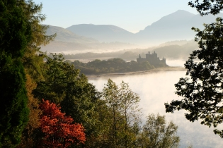 Kilchurn Castle in a misty October
